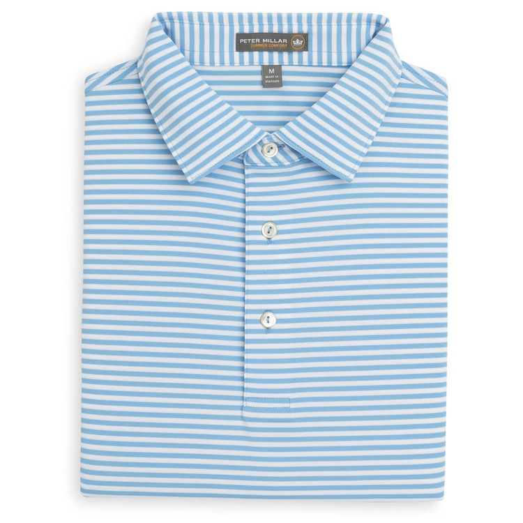 Competition Stripe Stretch Jersey 'Crown Sport' Performance Polo with Sean Self Collar in Grotto Blue and White by Peter Millar