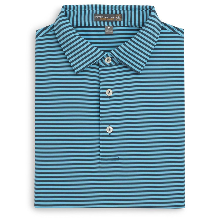 Competition Stripe Stretch Jersey 'Crown Sport' Performance Polo with Sean Self Collar in Maui and Blue Fish by Peter Millar