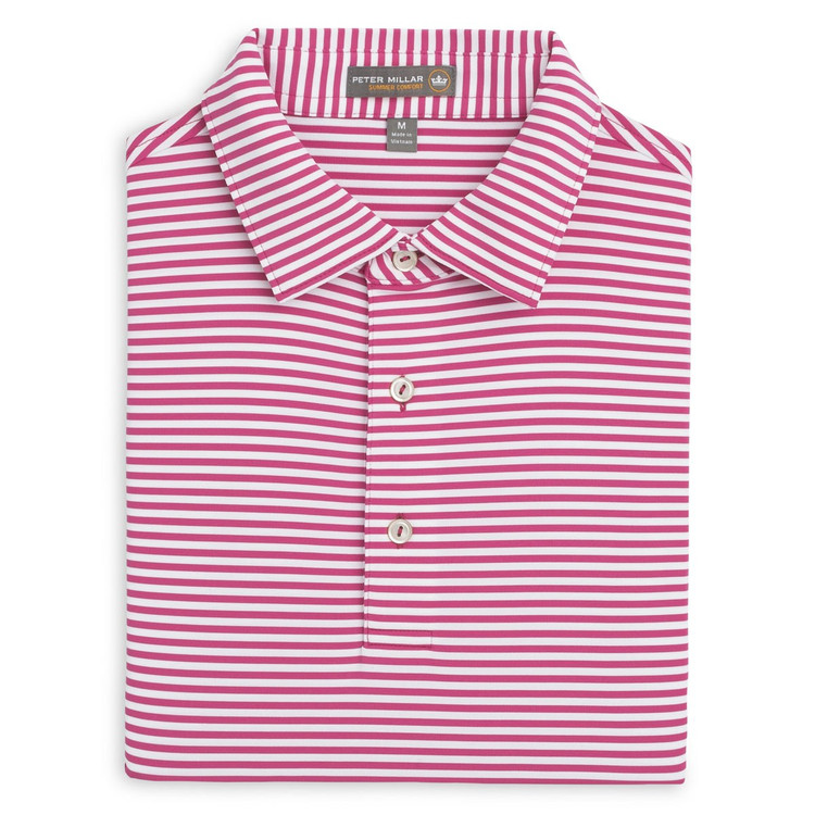 Competition Stripe Stretch Jersey 'Crown Sport' Performance Polo with Sean Self Collar in Mambo Pink and White by Peter Millar
