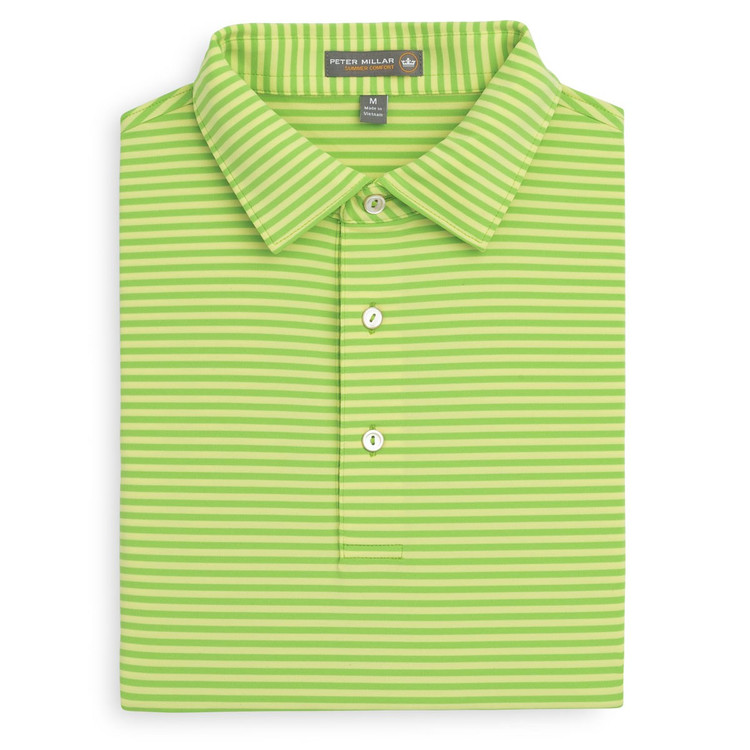 Competition Stripe Stretch Jersey 'Crown Sport' Performance Polo with Sean Self Collar in Pomelo and Sundust by Peter Millar