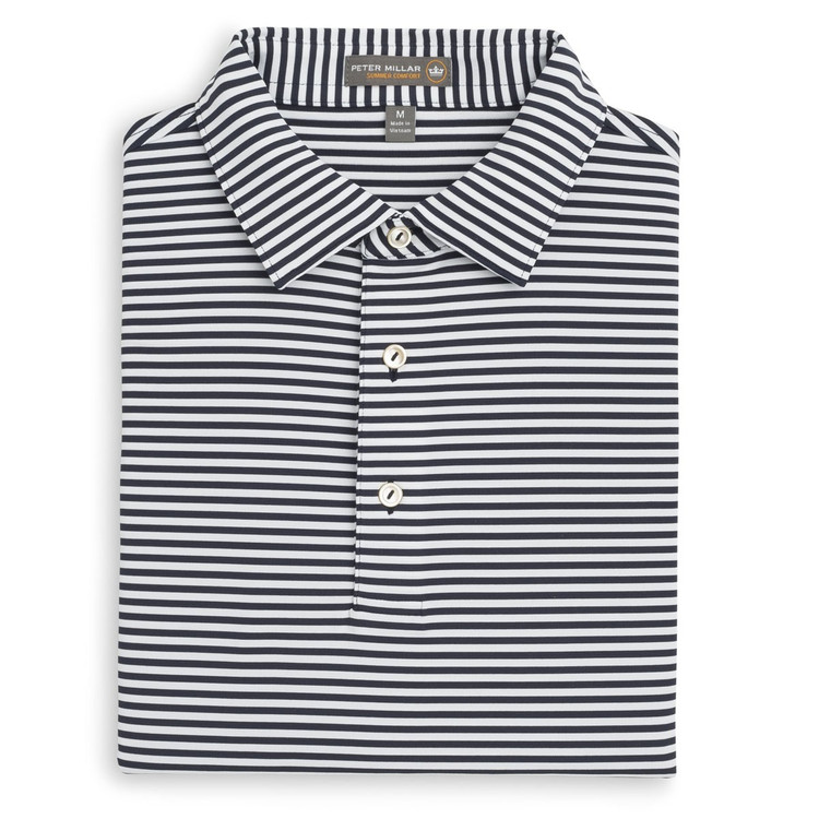 Competition Stripe Stretch Jersey 'Crown Sport' Performance Polo with Sean Self Collar in Yankee Blue and White by Peter Millar