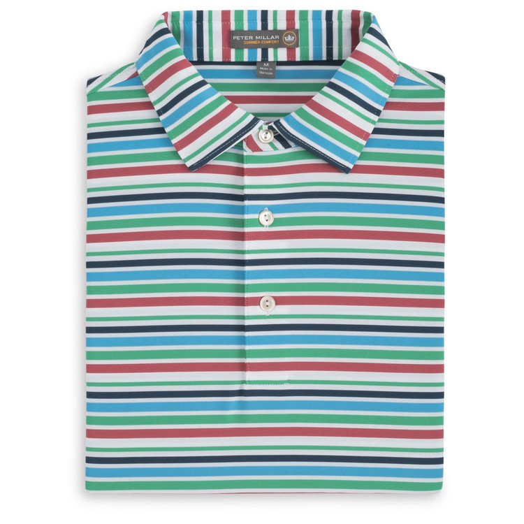 Boylan Stripe Stretch Jersey 'Crown Sport' Performance Polo with Sean Self Collar in Blue Fish by Peter Millar