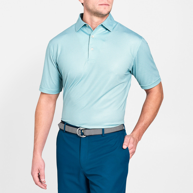 Forsyth Poulard Print Stretch Jersey 'Crown Sport' Performance Polo with Sean Self Collar in Fish Trap by Peter Millar