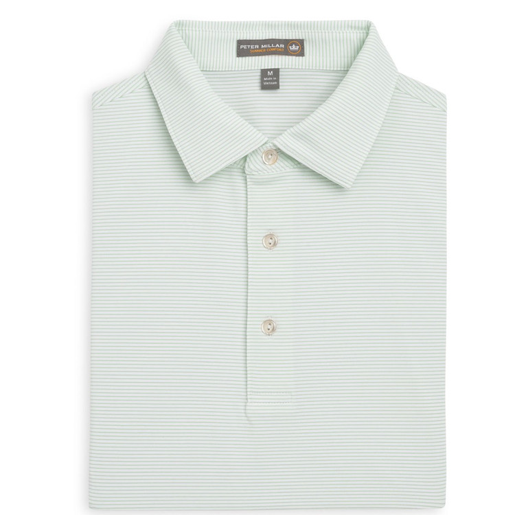 Halford Stripe Stretch Jersey 'Crown Sport' Performance Polo with Sean Self Collar in White and Pipeline by Peter Millar