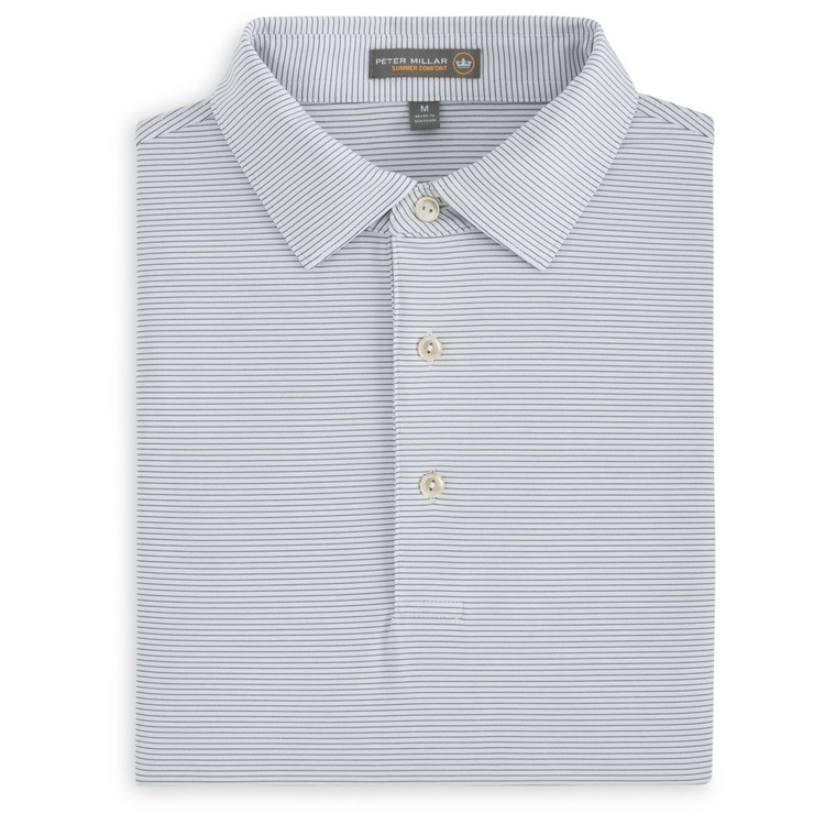 Halford Stripe Stretch Jersey 'Crown Sport' Performance Polo with Sean Self Collar in White and Yankee Blue by Peter Millar