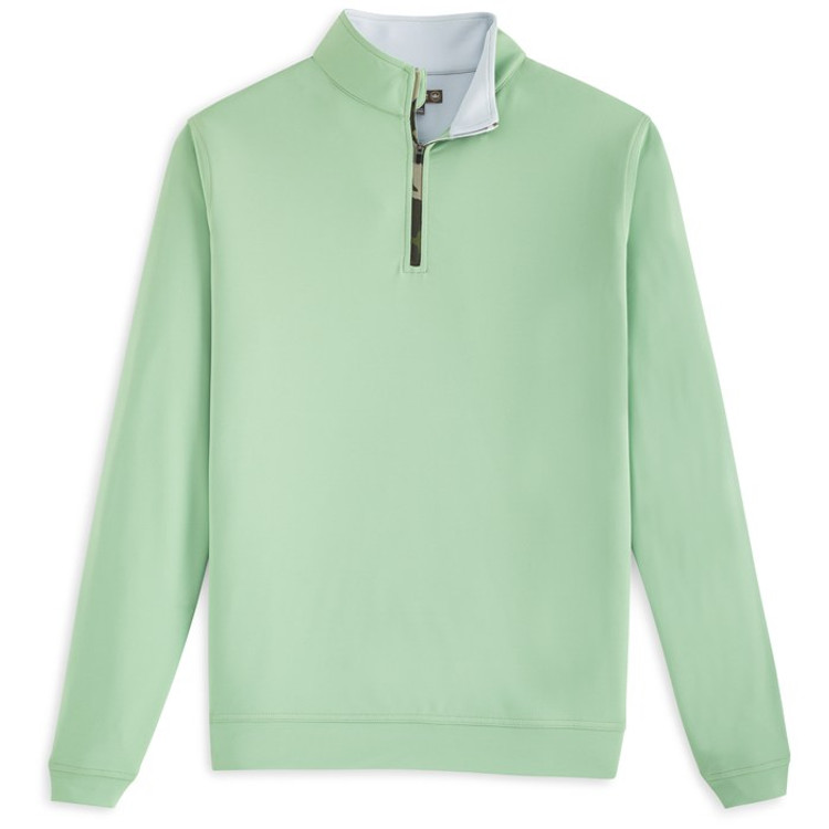 'Perth' Stretch Melange Quarter-Zip Performance Pullover in Pipeline with Camo Zipper by Peter Millar