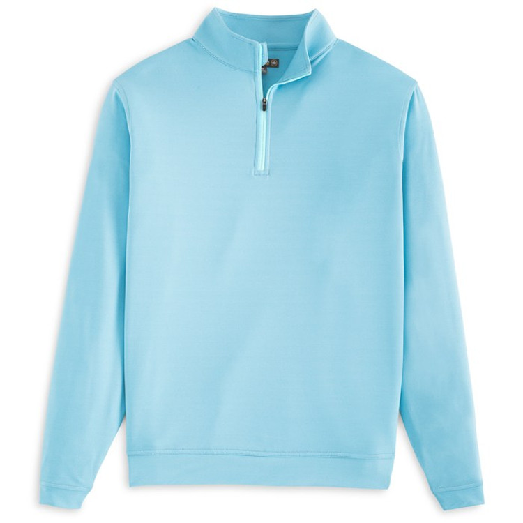 'Perth' Stretch Melange Quarter-Zip Performance Pullover in Grotto Blue by Peter Millar