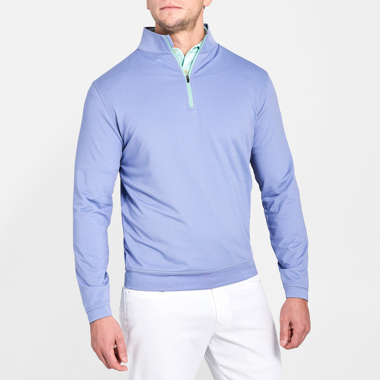 'Perth' Stretch Melange Quarter-Zip Performance Pullover in Thunderbird by Peter Millar
