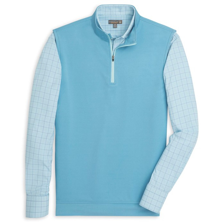 'Galway' Solid Stretch Loop Terry Quarter-Zip Performance Vest in Grotto Blue by Peter Millar