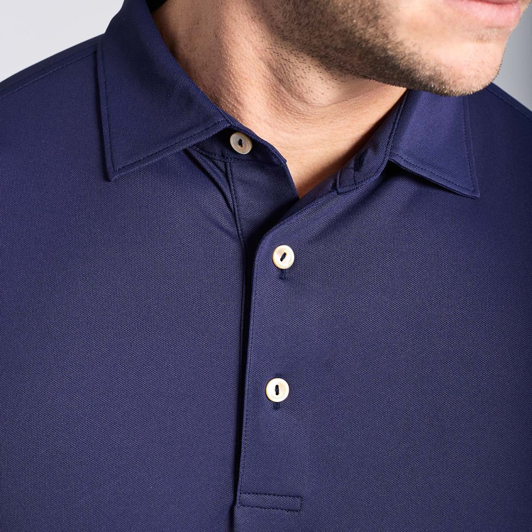 Solid Stretch Mesh 'Crown Sport' Performance Polo with Sean Self Collar in Yankee Blue by Peter Millar