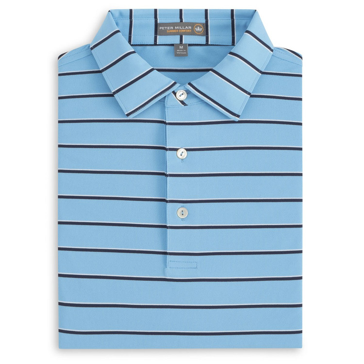 Scattered Stripe Stretch Mesh 'Crown Sport' Performance Polo with Sean Self Collar in Grotto Blue by Peter Millar