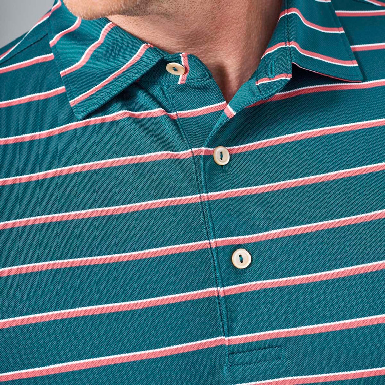 Scattered Stripe Stretch Mesh 'Crown Sport' Performance Polo with Sean Self Collar in Maui by Peter Millar