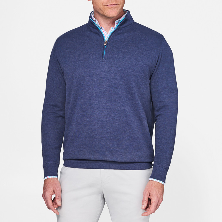 Heather 'Crown Comfort' Quarter-Zip Interlock Pullover in Yankee Blue by Peter Millar