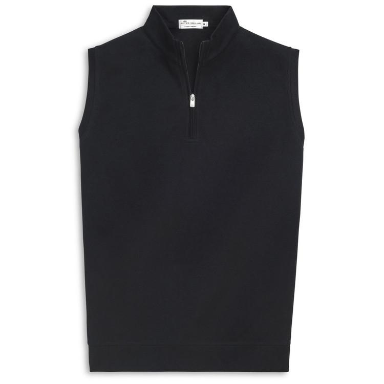 Heather 'Crown Comfort' Quarter-Zip Interlock Vest in Black by Peter Millar