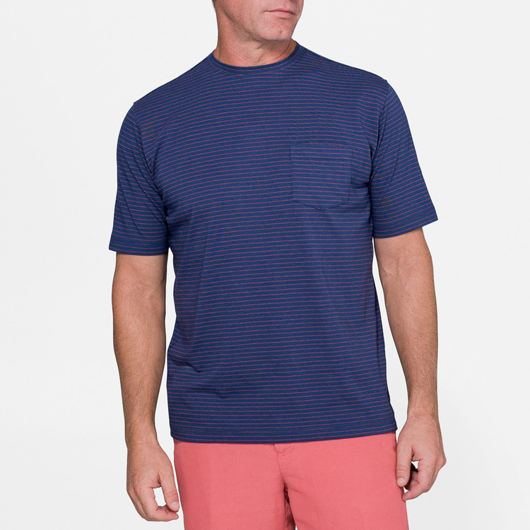 Seaside Striped Pocket Tee in Atlantic Blue by Peter Millar