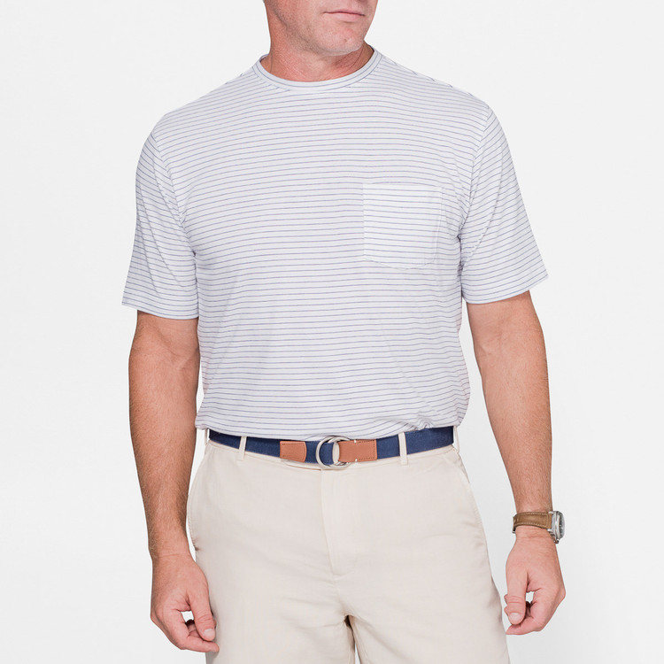 Seaside Striped Pocket Tee in White by Peter Millar