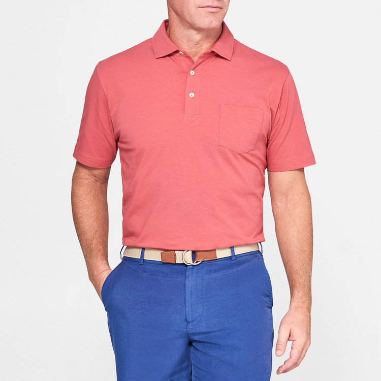 Seaside Wash Solid Polo Shirt with Pocket in Cape Red by Peter Millar