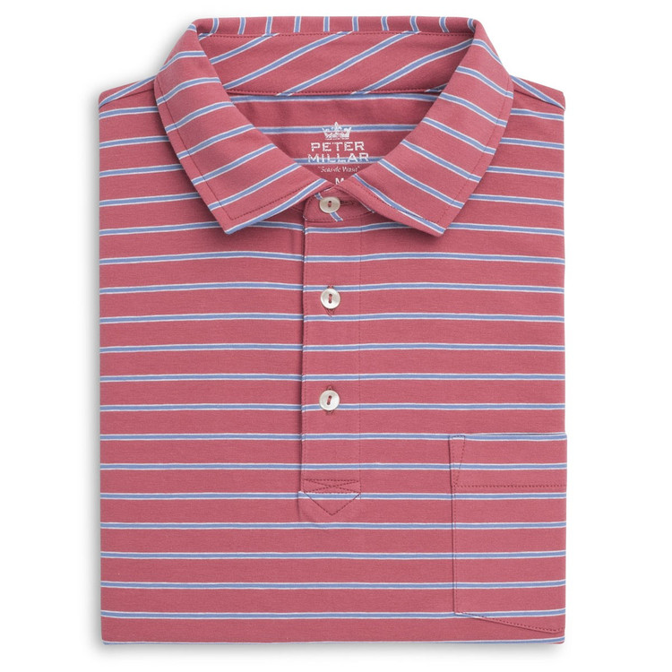 Indiana Seaside Stripe Polo Shirt with Pocket in Cape Red by Peter Millar
