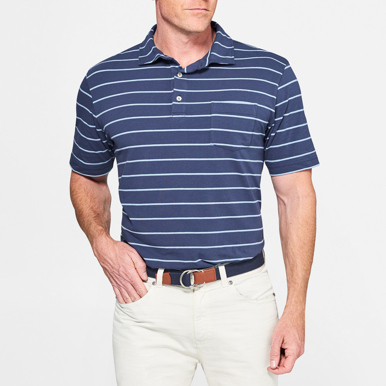 Knoll Seaside Stripe Polo Shirt with Pocket in Atlantic Blue by Peter Millar