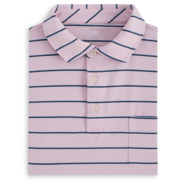 Knoll Seaside Stripe Polo Shirt with Pocket in Dusk Pink by Peter Millar
