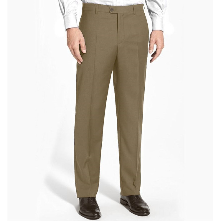 'Devon' Flat Front Lower Rise Super 120's Wool Serge Pant in Taupe (Size 34 Only) by Zanella