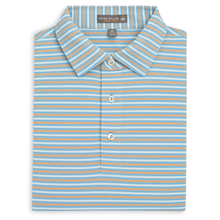 Capped Stripe Stretch Mesh 'Crown Sport' Performance Polo with Sean Self Collar in Grotto Blue (Size Large) by Peter Millar