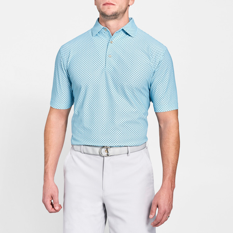 Covered Print Neat Stretch Mesh 'Crown Sport' Performance Polo with Sean Self Collar in Grotto Blue by Peter Millar