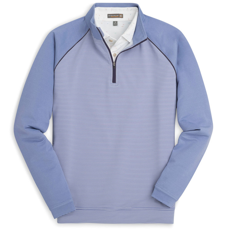 'Perth' Raglan Sleeve Stripe Quarter-Zip Performance Pullover in Thunderbird by Peter Millar