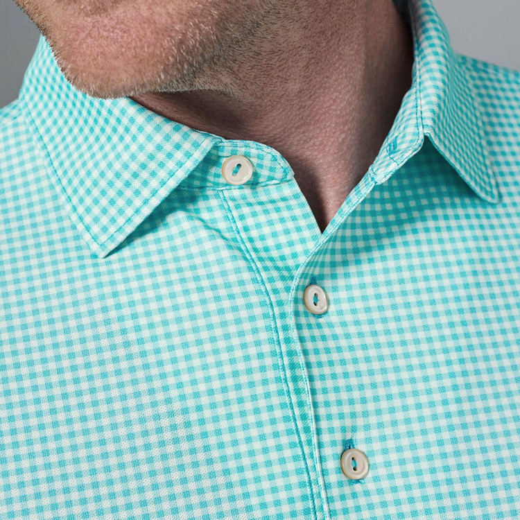 Nebraska Print Gingham Stretch Mesh 'Crown Sport' Performance Polo with Sean Self Collar in Grotto Blue by Peter Millar