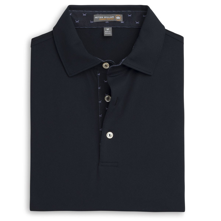 Solid Stretch Mesh 'Crown Sport' Performance Polo with Contrast Trim and Sean Self Collar in Black by Peter Millar