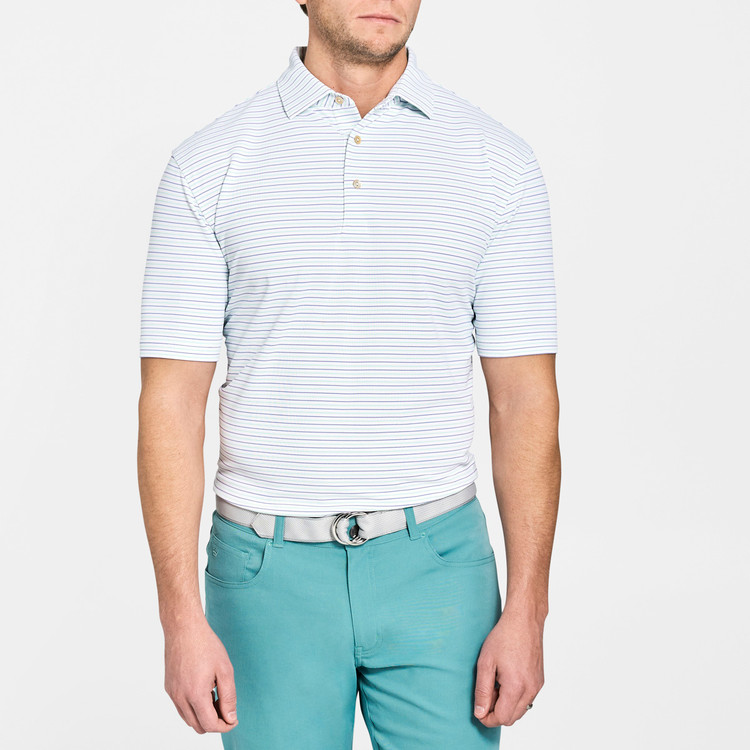 Peace Stripe Stretch Mesh 'Crown Sport' Performance Polo with Sean Self Collar in White and Thunderbird by Peter Millar