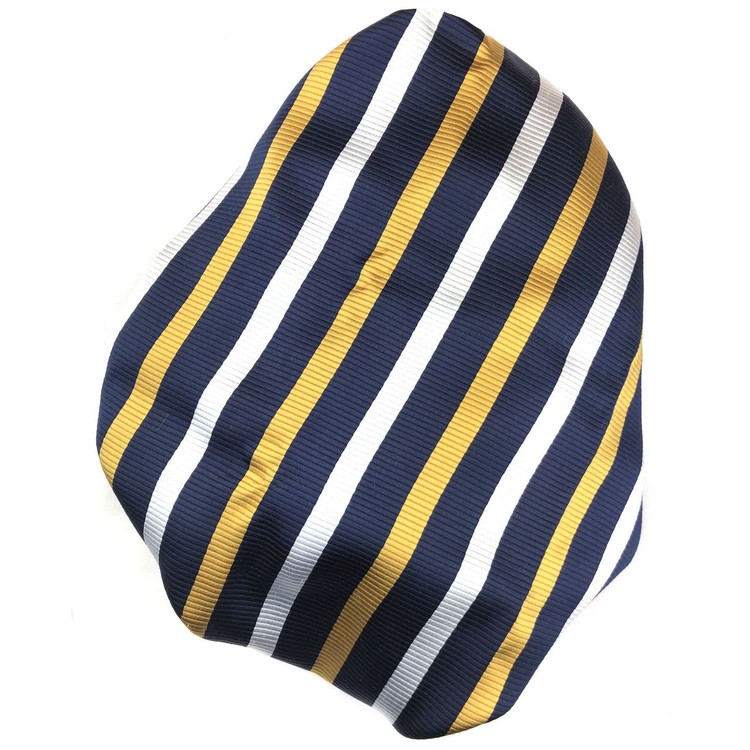 Custom Made Navy, Gold, and White Faille Stripe Best of Class Silk Tie by Robert Talbott