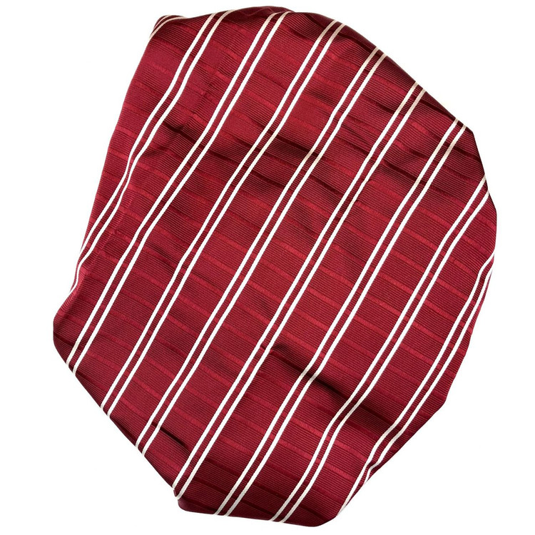 Custom Made Red and White Textured Stripe Best of Class Silk Tie by Robert Talbott