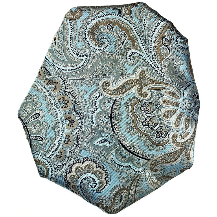 Custom Made Aqua and Tan Paisley Best of Class Silk Tie by Robert Talbott