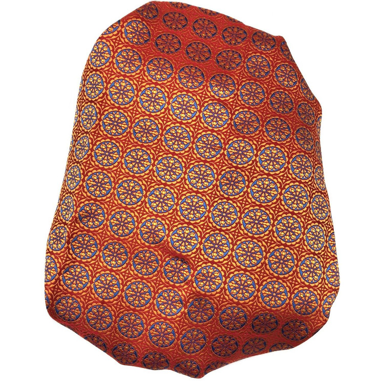 Custom Made Orange, Rust, and Blue Medallion Best of Class Silk Tie by Robert Talbott