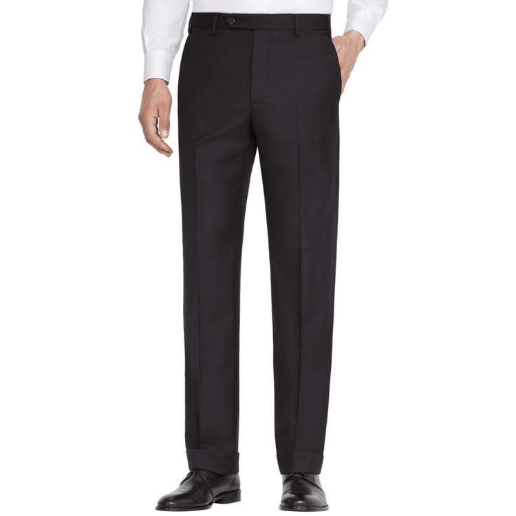 'Todd' Flat Front Wool Gabardine Pant in Black by Zanella