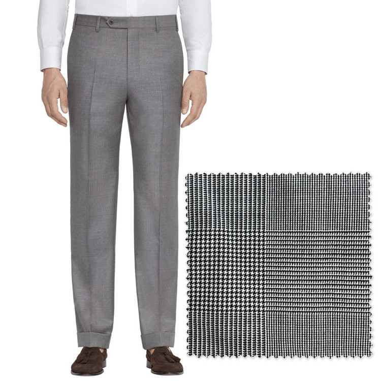 'Todd' Flat Front Macro Price of Wales Plaid Wool Pant by Zanella