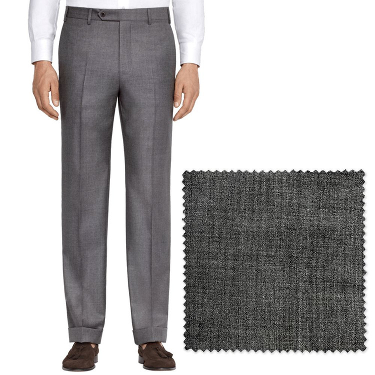 'Todd' Flat Front Stretch Tropical Wool Pant in Medium Grey by Zanella
