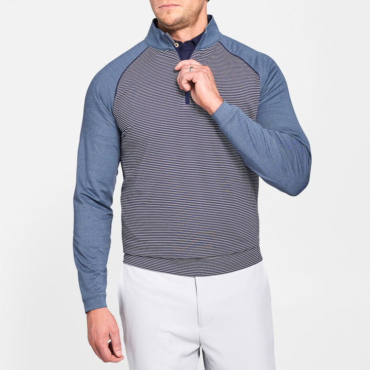 'Perth' Raglan Sleeve Stripe Quarter-Zip Performance Pullover in Yankee Blue by Peter Millar