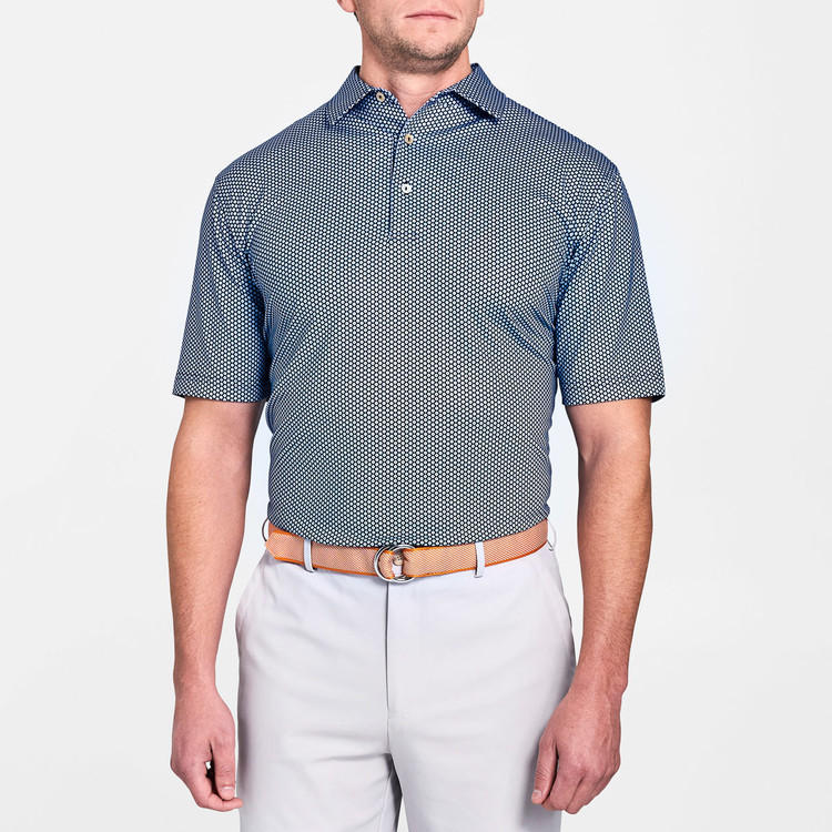 Mordecai Printed Flower Medallion Stretch Jersey 'Crown Sport' Performance Polo with Sean Self Collar in Yankee Blue by Peter Millar