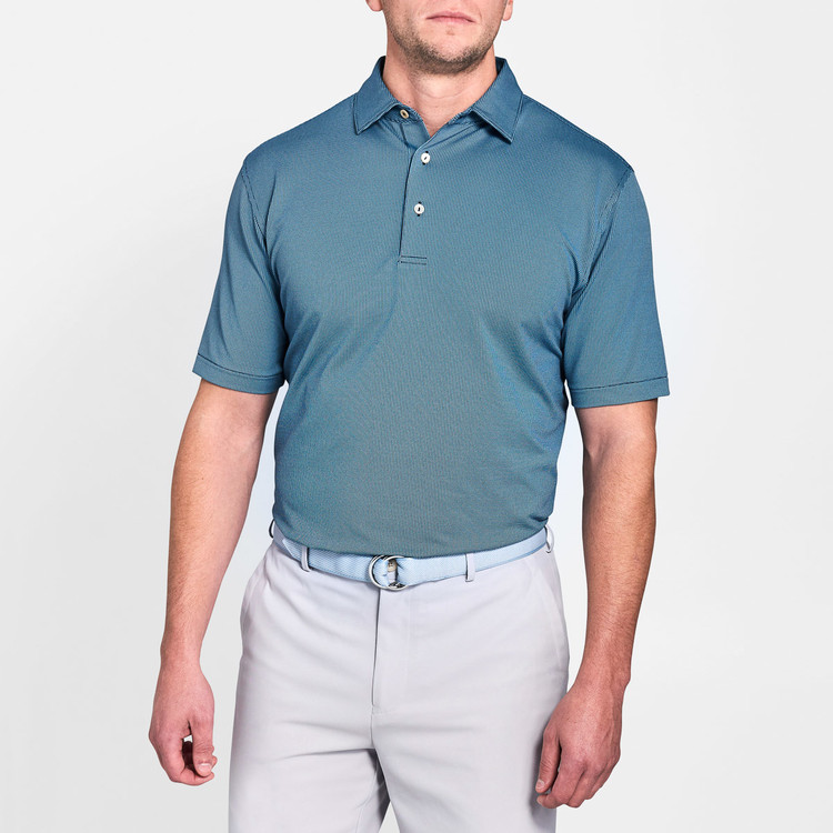 Anderson Houndstooth Jacquard Stretch Jersey 'Crown Sport' Performance Polo with Sean Self Collar in Yankee Blue by Peter Millar