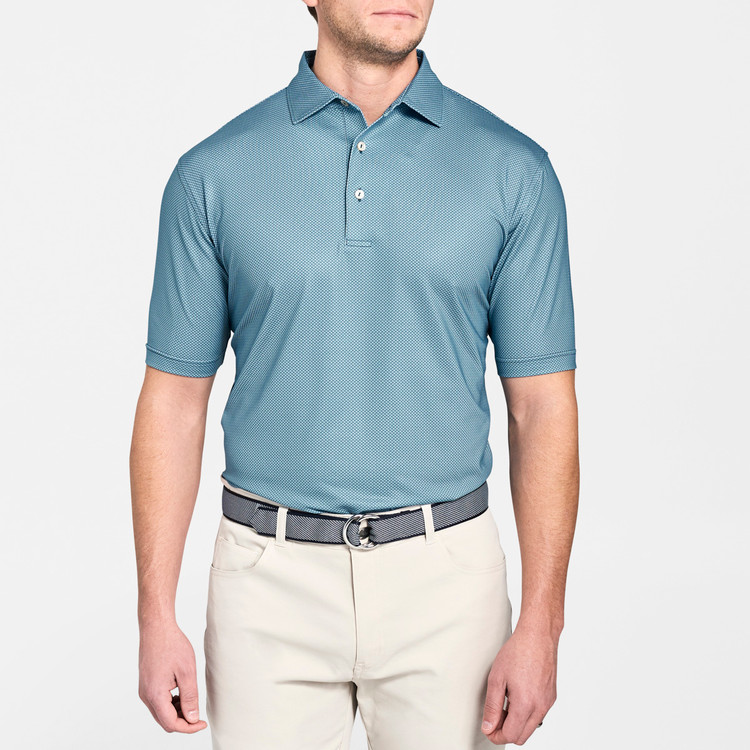 Forsyth Poulard Print Stretch Jersey 'Crown Sport' Performance Polo with Sean Self Collar in Maui by Peter Millar