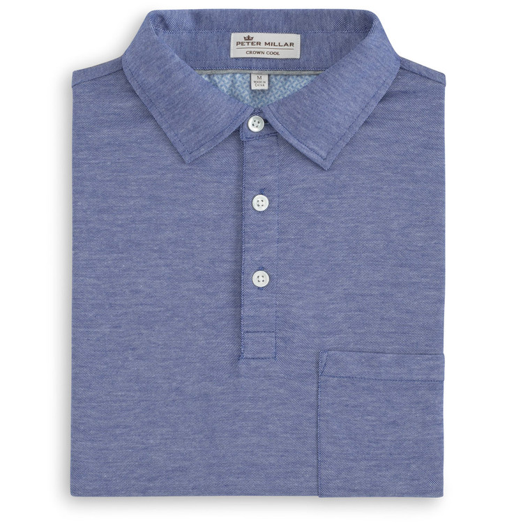 Solid 'Crown Cool' Cotton and Linen Polo with Self Fabric Collar in Barrier Blue by Peter Millar