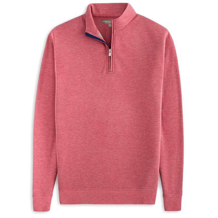 'Perth' Stretch Melange Quarter-Zip Performance Pullover in Cape Red by Peter Millar