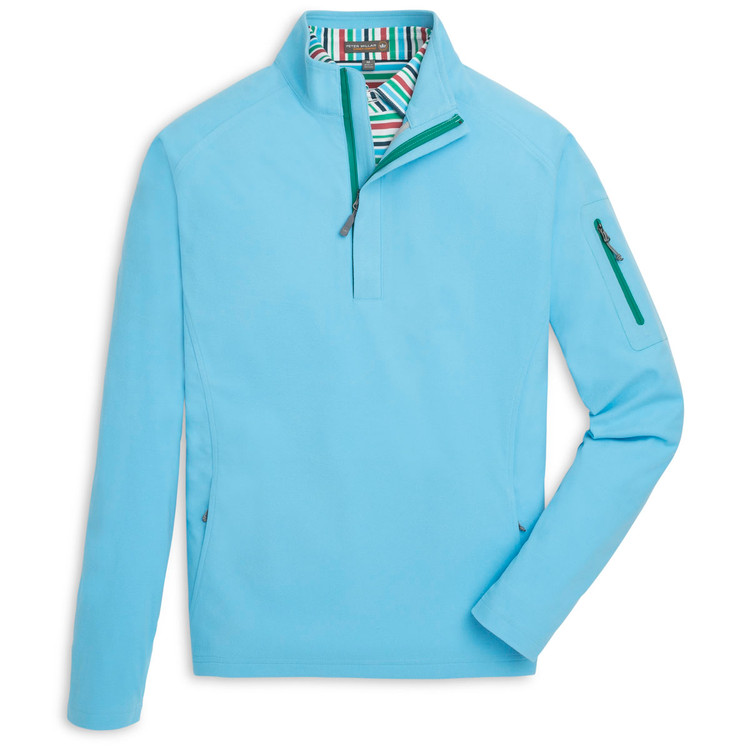 'Whisper' Lightweight Wind Suede Quarter-Zip in Blue Fish by Peter Millar