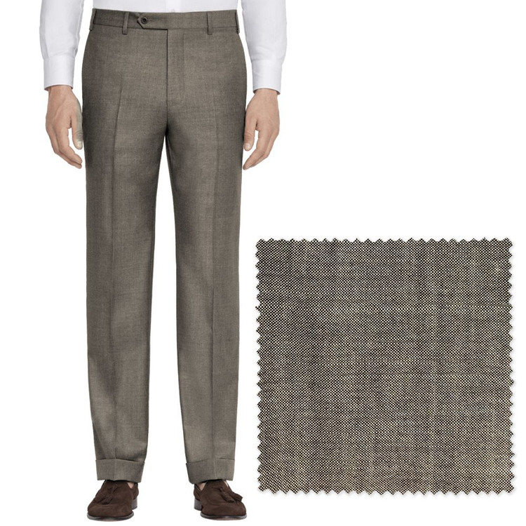'Todd' Flat Front Mohair Effect Wool Pant in Brown by Zanella