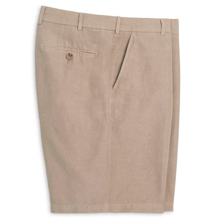 Cotton-Linen-Silk Seaside Short in Khaki by Peter Millar