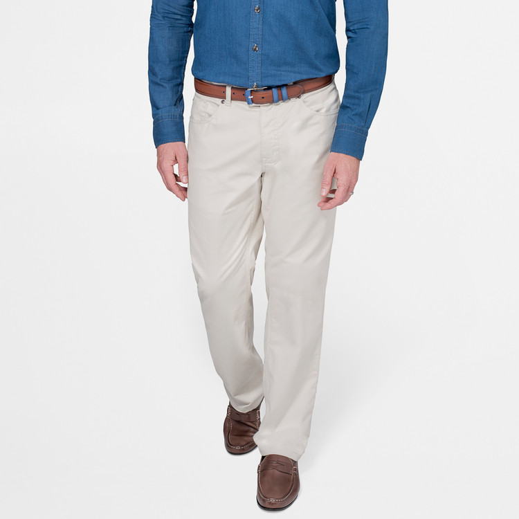 Soft Touch Twill Five-Pocket Pant in Stone by Peter Millar