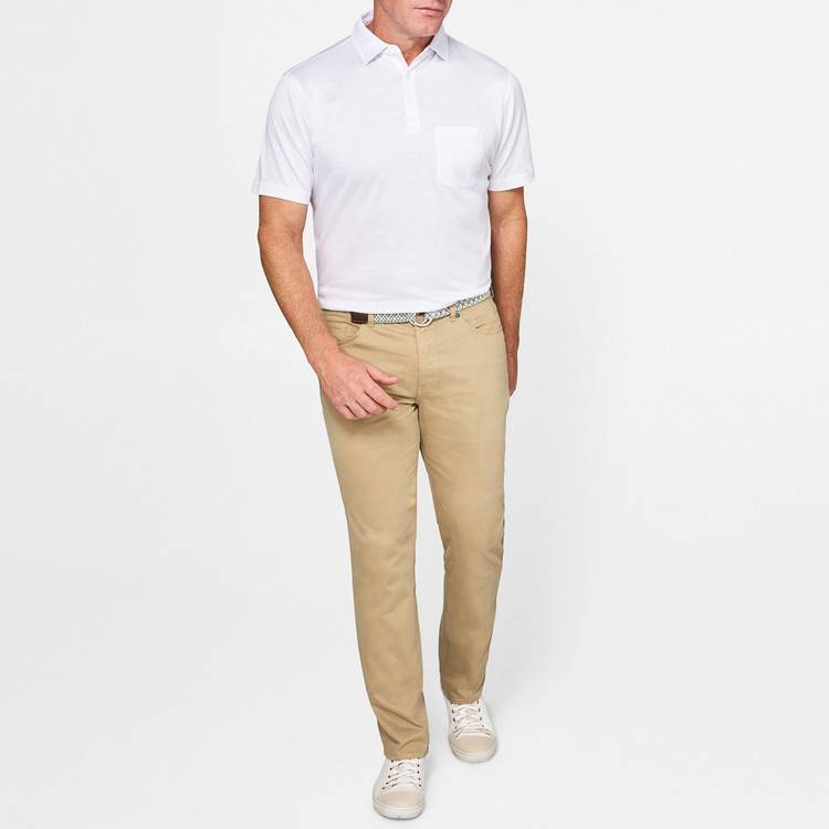 Sateen Stretch Five-Pocket Pant in Khaki by Peter Millar