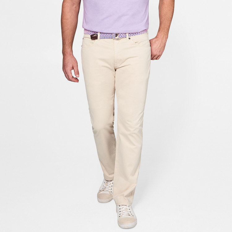 Sateen Stretch Five-Pocket Pant in Light Sand by Peter Millar